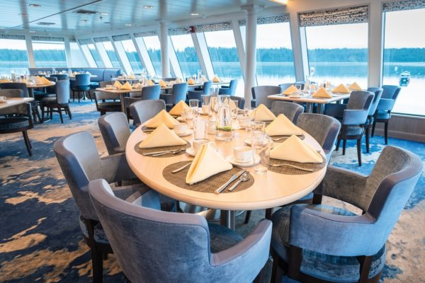 Dining room aboard National Geographic Quest inagural voyage in Alaska. July 2017
