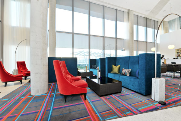 Custom designed carpet solution for Scandic Stavanger Airport, delivered by Dansk Wilton