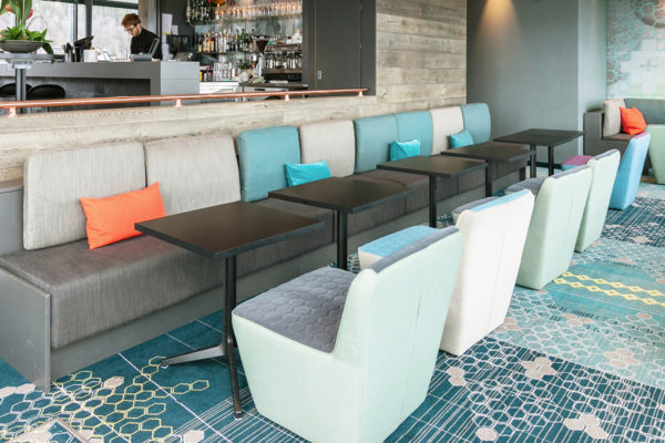 Dansk Wilton has delivered custom designed Colortec carpets and area rugs for rooms, corridors, meeting rooms, bar, lounge and restaurant for Scandic Hotel in Narvik