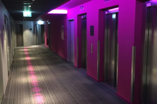 Dansk Wilton delivered custom designed Colortec carpets for rooms and corridors for Moxy Hotels
