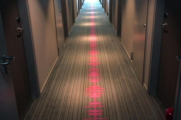Dansk Wilton delivered custom design Colortec carpets for rooms and corridors for Moxy Hotels