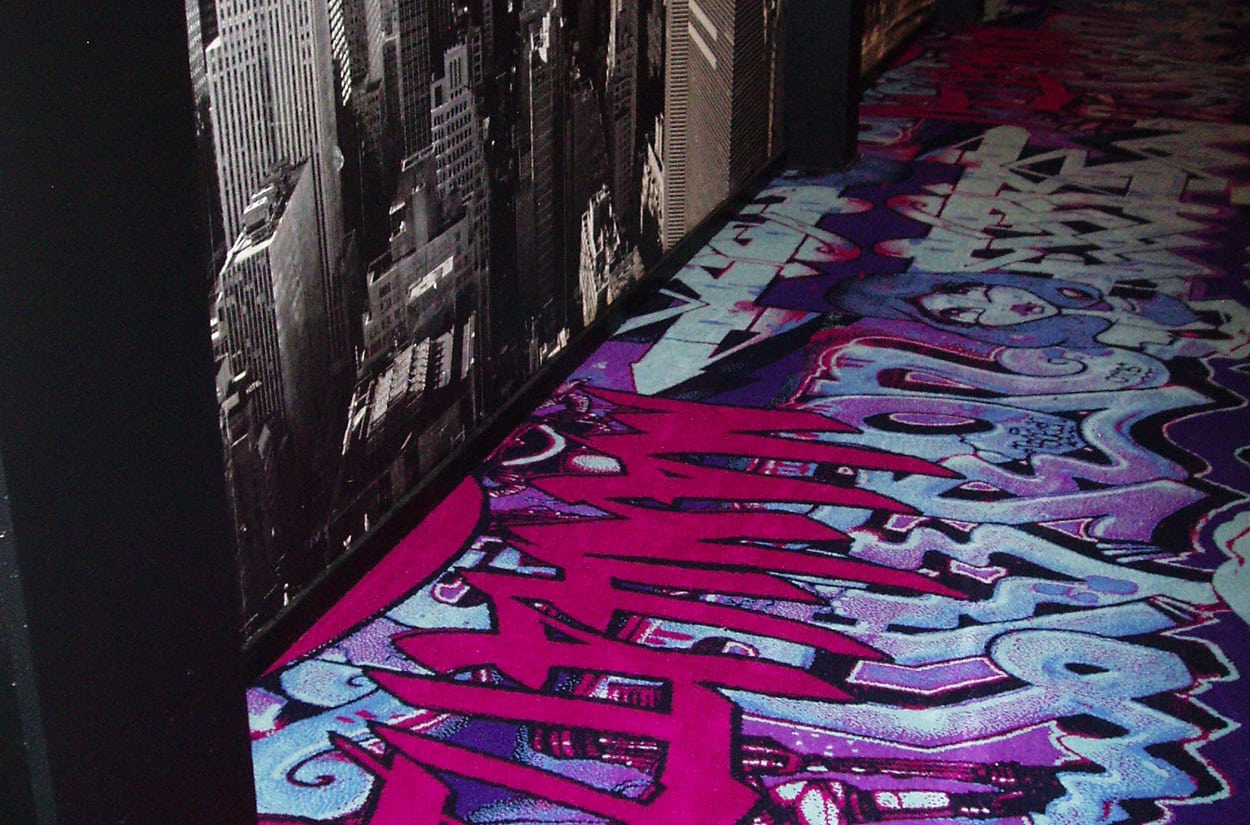 This Graffiti Carpet from Dansk Wilton Rocks Nightclub Manhattan in Nuuk, Greenland