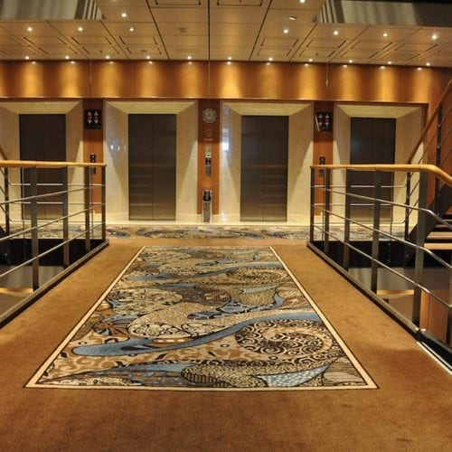 Custom designed carpet solution for Costa Neoromantica hotel, delivered by Dansk Wilton