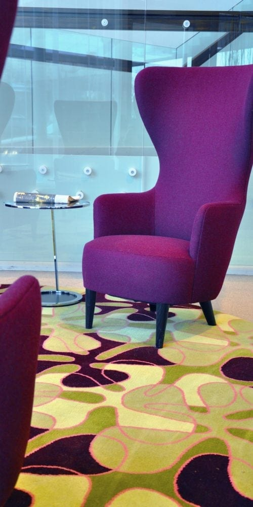 Inspiration from the hotel Mariott Courtyard in Stockholm, where Dansk Wilton has delivered custom designed carpet solutions