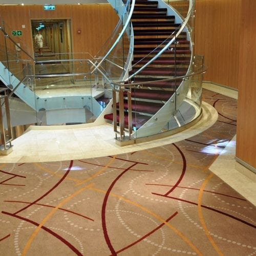 Unique carpet solution for the cruise ship Seabourn Sojourn, delivered by Dansk Wilton