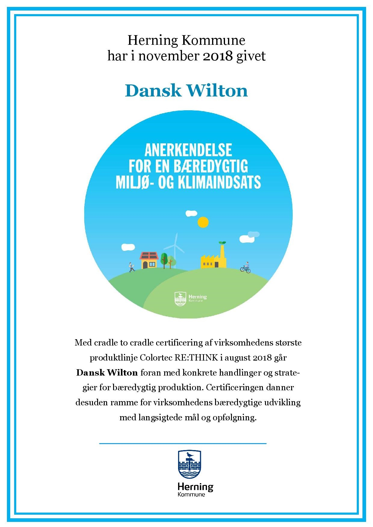 Cradle to Cradle certification from Herning Kommune to Dansk Wilton