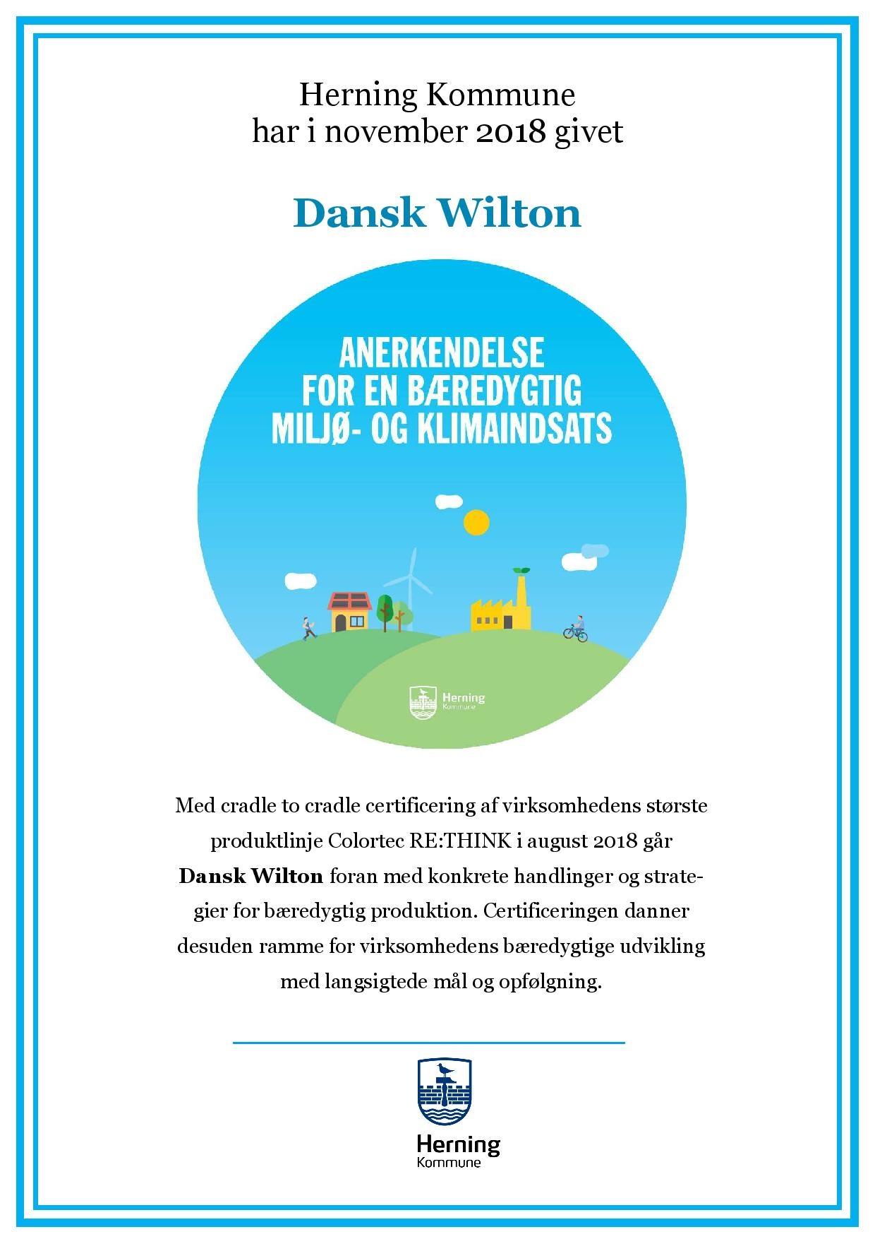 Cradle to Cradle certification from Herning Kommune to Dansk Wilton