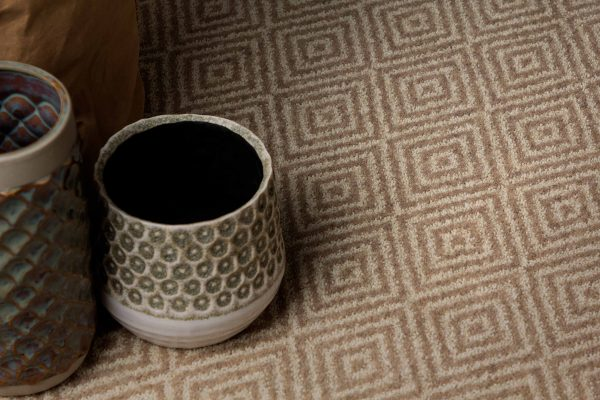 Carpet Design Inspiration - Square Pattern Design Carpet - Stone Vase - Light Grey And Sand Coloured Carpet - ORIGIN - Dansk Wilton