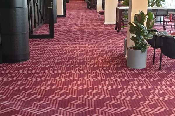 Dansk Wilton - Scandic Falkonér - Graphic Carpet - Lobby Area - Red Colour Inspired Square