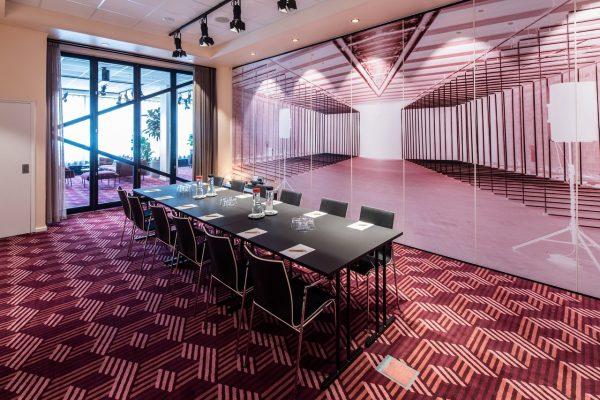 Dansk Wilton -Scandic Falkoner - Meeting Room - Colortec Carpet - Graphic Design With Red Squares