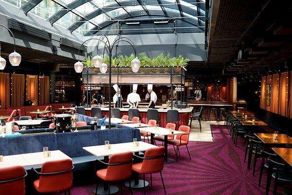 Dansk Wilton -Scandic Falkoner - Restaurant - Colortec Carpet - Purple Coloured Graphic Design