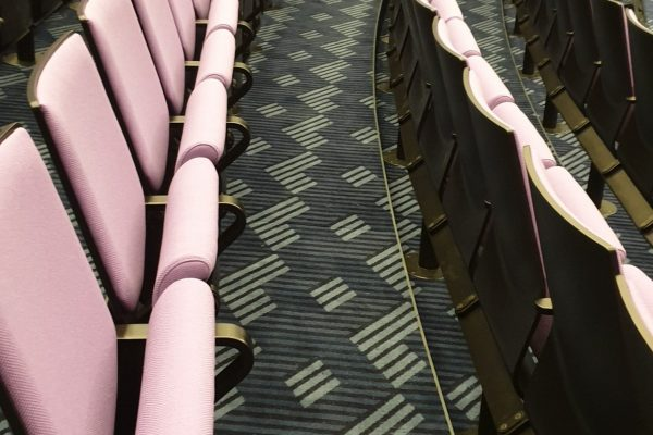Dansk Wilton -Scandic Falkoner - Theater - Colortec Carpet - Grey Coloured Graphic Design - Pink Chairs